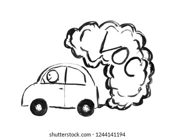 Black brush and ink artistic rough hand drawing of smoke coming from car exhaust into air. Environmental concept of VOC or volatile organic compound pollution.