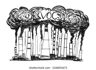 Black brush and ink artistic rough hand drawing of smoke coming from industry or factory smokestacks or chimneys into air. Environmental concept of VOC or volatile organic compound air pollution.