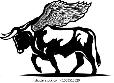 Black buffalo. Tattoo of Fly Bull