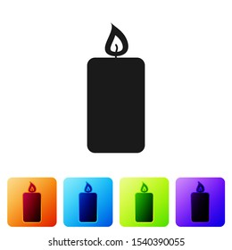 Black Burning candle icon isolated on white background. Old fashioned lit candle. Cylindrical aromatic candle stick with burning flame. Set icon in color square buttons