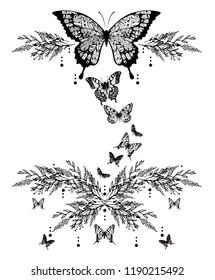 Black butterflies and flowers design. JPEG format.