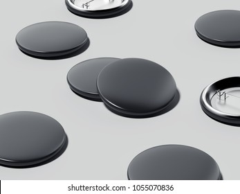 Black button badges isolated on gray background. 3d rendering
