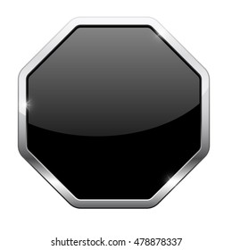 Black button with chrome frame. Octagon shape. Illustration isolated on white background. Raster version