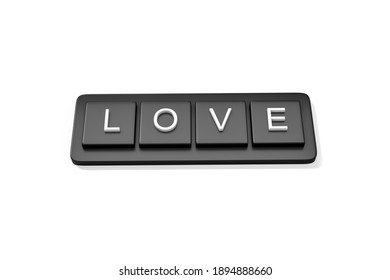 Black button LOVE text 3d rendering. 3d illustration of Love and Valentines Day greeting card template minimal concept.