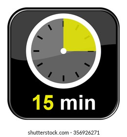 Black Button with watch showing 15 Minutes