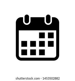Black Calendar icon isolated on white background