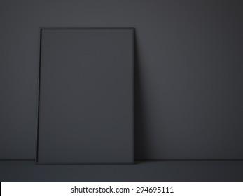 Black canvas in dark interior. 3d rendering
