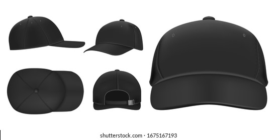 Black cap mockup. Sport baseball caps template, summer hat with visor and uniform hats different views realistic 3D  set. Headwear illustrations collection. Cap front, top, side, back view