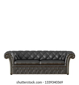 Black capitone sofa on white background 3d rendering