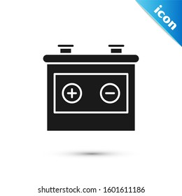 Black Car battery icon isolated on white background. Accumulator battery energy power and electricity accumulator battery.