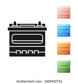 Black Car battery icon isolated on white background. Accumulator battery energy power and electricity accumulator battery. Set icons colorful.
