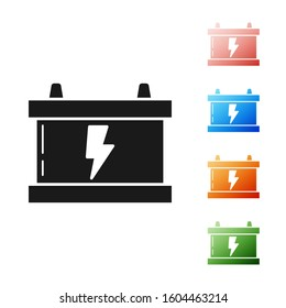 Black Car battery icon isolated on white background. Accumulator battery energy power and electricity accumulator battery. Lightning bolt. Set icons colorful.