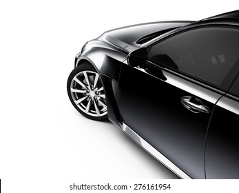 Black car - cropped shot isolated on white