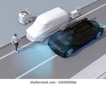 Black car emergency braking to avoid car accident with pedestrian who using smartphone. Automatic Emergency Braking (Emergency brake system) concept. 3D rendering image.