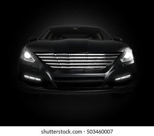 black car isolated on black background - generic, un-branded sedan, 3D rendering