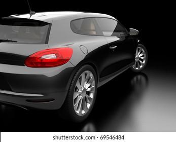 black car on black background