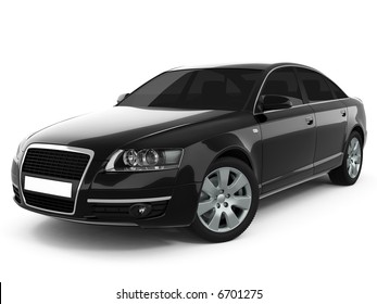Black car On a White Background