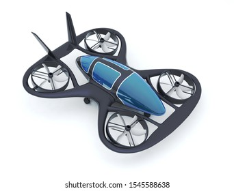 Black Carbon Flying Car, Personal Air Vehicle, The Future 3d Concept, Future Car, Futuristic Vehicle Concept Isolated On White Background, Air Car Concept - 3D Rendering
