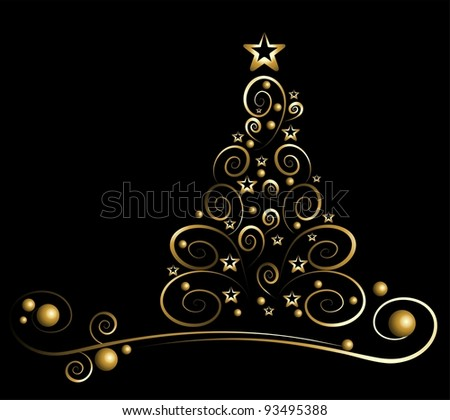 black card with gold christmas tree - Black And Gold Christmas Tree