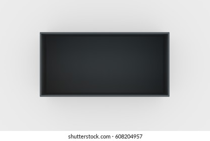 black cardboard material of rectangle box by 3D rendering
