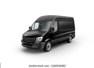 Black Cargo Express Van Vehicle prespective view. 3D rendering