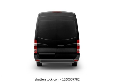 Black Cargo Express Van Vehicle back view. 3D rendering