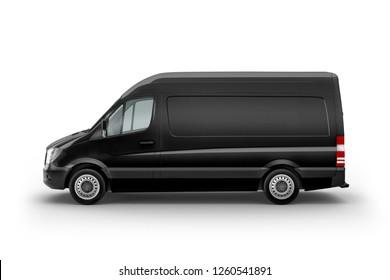 Black Cargo Express Van Vehicle left view. 3D rendering
