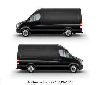 Black Cargo Express Van Vehicle left  and right view. 3D rendering