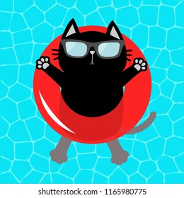 Black cat floating on red pool float water circle. Top air view. Hello Summer. Swimming pool water. Sunglasses. Lifebuoy. Cute cartoon relaxing character. Flat design.