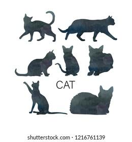 black cat illustration silhouette watercolor art
