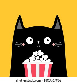 Black cat popcorn box. Cute cartoon funny character. Cinema theater. Film show. Kitten watching movie. Kids print for tshirt notebook cover. Yellow background Isolated. Flat design