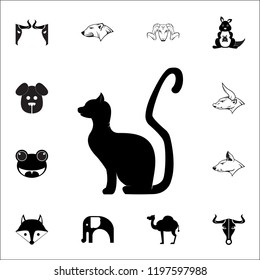 black cat silhouette icon. Set of animal icons. You can use in web or app icons on white background
