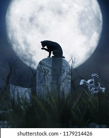 Black cat sitting on a gravestone in halloween night,3d illustration