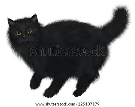 Black Cat Walking Black Cat One Stock Illustration 225107179