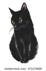 Black cat watercolor painting realistic for Halloween isolated on white background.