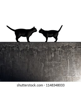 black cats on a concrete wall 3d illustration