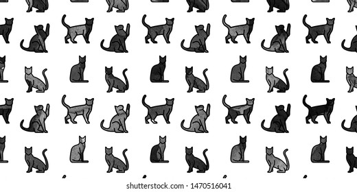 Black cats watercolor pattern isolated on white background illustration.