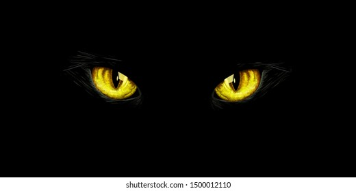 Black cat's yellow eyes on black background. Halloween card, invitation, animal hand drawn illustration. Halloween element for design