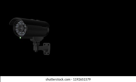 Black CCTV camera over black background with copy space. 3d rendered image. Concept of security and surveillance.
