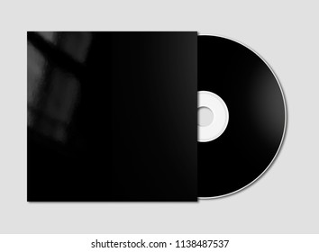 Black CD - DVD and cover mockup template isolated on grey background