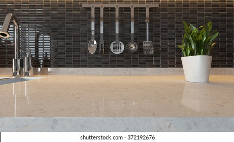 black ceramic modern kitchen design background with kitchen marble desk space for your design and montage product 3d rendering by sedat seven
