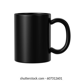black ceramic mug on white background, 3D Rendering
