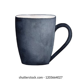 Black ceramic mug watercolor illustration. Can be used as cozy mock up for lettering, text notes, personalized messages. Sketchy water color painting on white, clipart element for design and decor.
