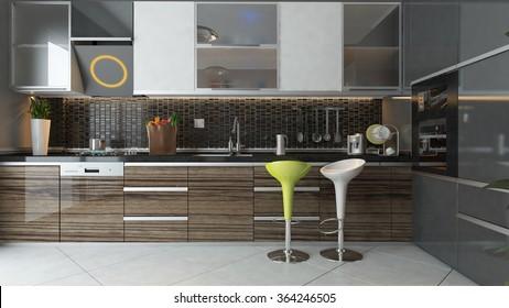 black ceramic and wooden furniture under light modern kitchen 3d design 3d rendering by sedat seven