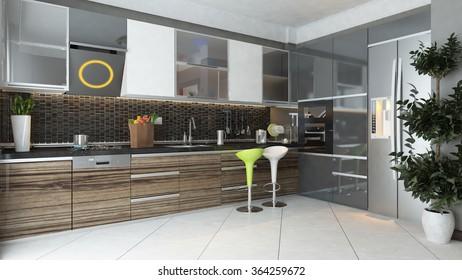 black ceramic and wooden furniture under light modern kitchen 3d rendering by sedat seven