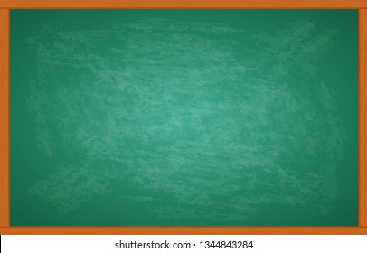 Black chalkboard and wooden frame, rubbed out dirty chalkboard. Clipart black boardr illustration isolated on white background
