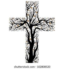 black christian cross, tree shape  on a white background