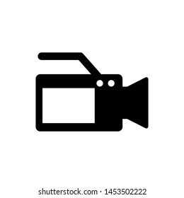 Black Cinema camera icon isolated on white background. Video camera. Movie sign. Film projector