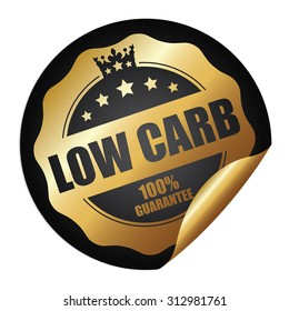 Black Circle Low Carb 100% Guarantee Infographics Peeling Sticker, Label, Icon, Sign or Badge Isolated on White Background