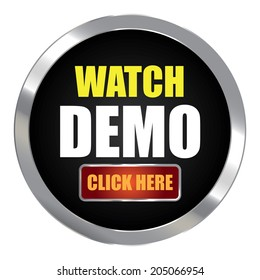 Black Circle Metallic Watch Demo Click Here Label, Sign, Sticker or Icon Isolated on White Background